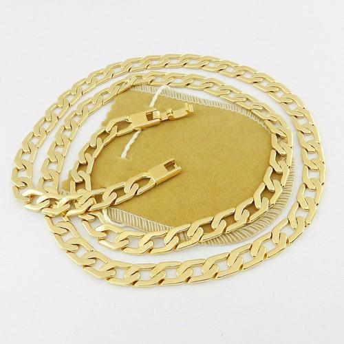 corrente masculina 70cm 8mm largura folheada ouro cr352