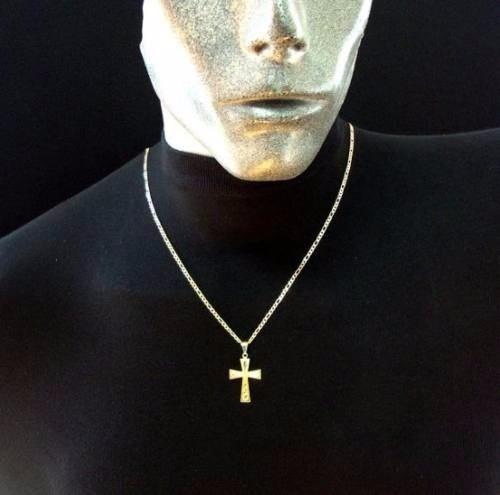 corrente masculina 70cm cruz banhado ouro  amarelo