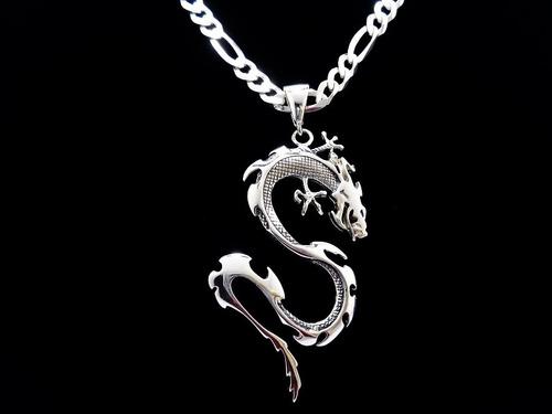 corrente masculina 70cm dragão chinês pingente prata pura925