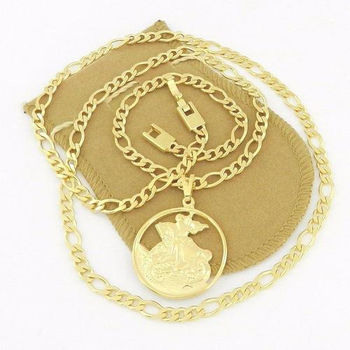 corrente masculina 70cm são jorge 3cm folheado ouro cr129