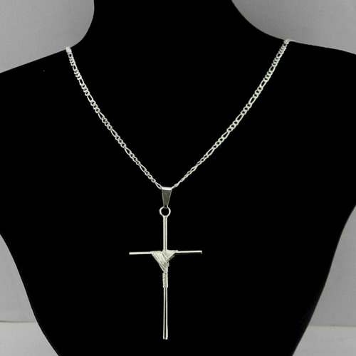 corrente masculina 80cm 2mm cruz folheada prata cr675