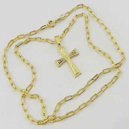 corrente masculina 80cm 3mm cruz 20x30mm folheado ouro cr681