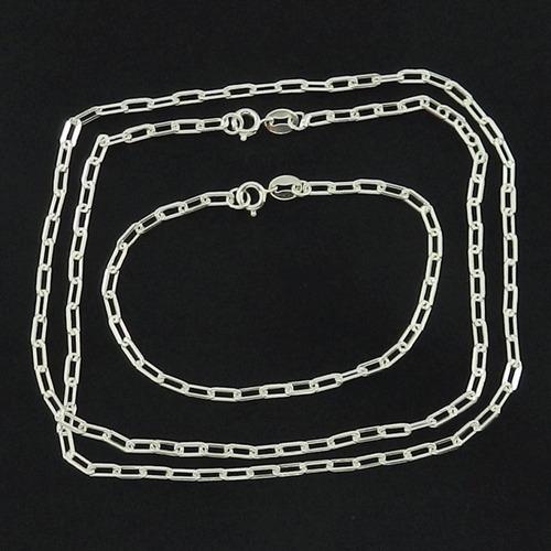 corrente masculina 80cm 3mm + pulseira folheada prata cr696