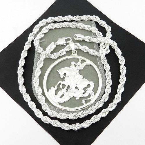 corrente masculina 80cm 6mm são jorge folheada prata cr137
