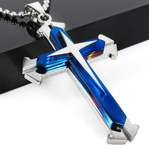 corrente masculina aço inox colar e pingente crucifixo cruz