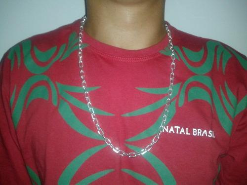corrente masculina cadeado prata 925  60 cm frete grátis