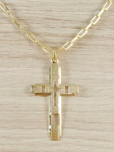 corrente masculina cordão 60cm 3,5mm crucifix folheada ouro