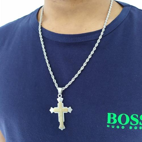 corrente masculina cordão baiano 60 cm e pingente crucifixo