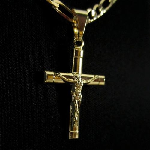 corrente masculina crucifixo 3x1 60cm banhada a ouro