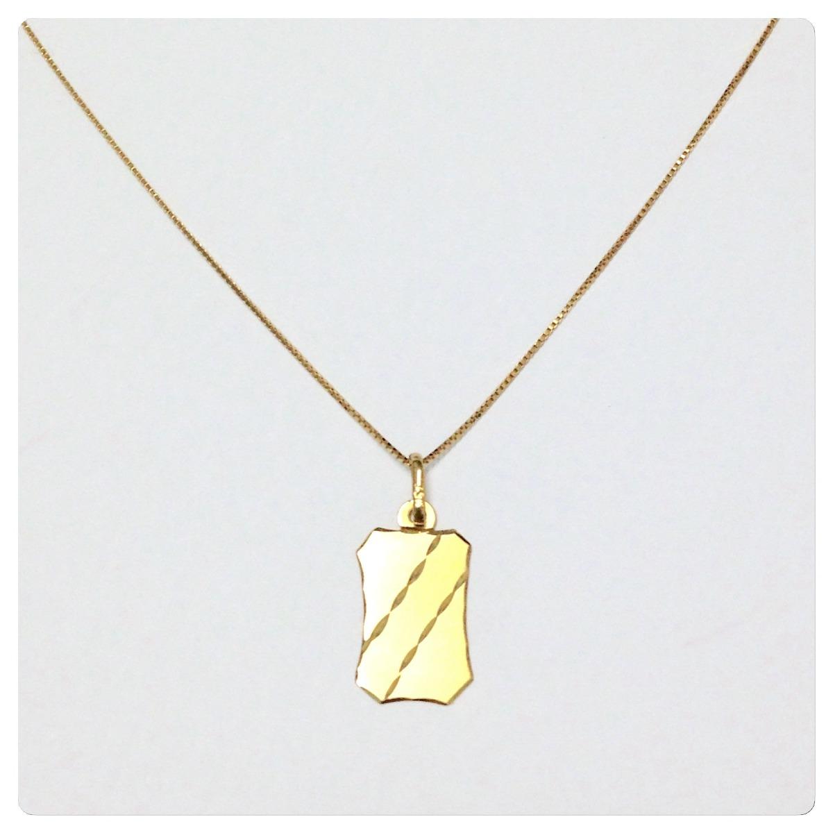 corrente masculina de 60 cm e pingente placa joia ouro 18k. Carregando zoom. 30d121e72c