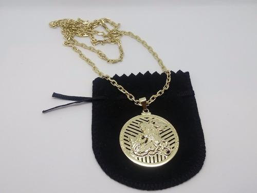 corrente masculina elo cadeado com medalhão de são jorge