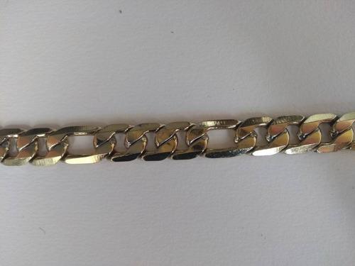 corrente masculina fígaro banhada a ouro 18k 70cm e 11mm