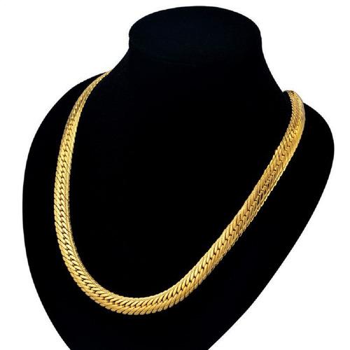 corrente masculina folheada ouro p/ copa do brasil 50cm 5mm