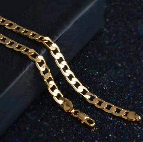 corrente masculina grossa banhada ouro 18k colar prata