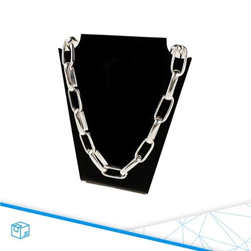 corrente masculina grossa semi jóia folheada prata unisex