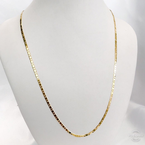corrente masculina ouro 18k cordão piastrine 60cm 2,75mm