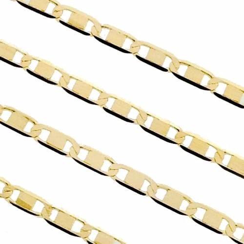 corrente masculina piastrine maciça em ouro 18k-750