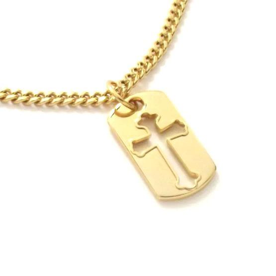 Corrente Masculina Pingente Placa Crucifixo Banho Ouro 18k - R  39,90 em  Mercado Livre c9d79244d2