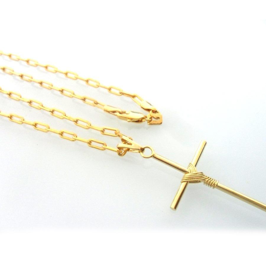 6371ad92bd4 corrente masculina quadrada pingente crucifixo banhado ouro. Carregando  zoom.