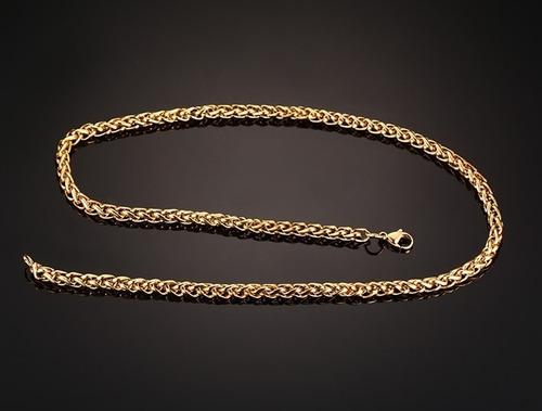 corrente masculina trança fina 70cm 3mm aço banhado a ouro
