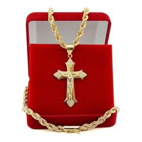 Corrente Masculina+pulseira+pingente Banhada A Ouro18k Tk014