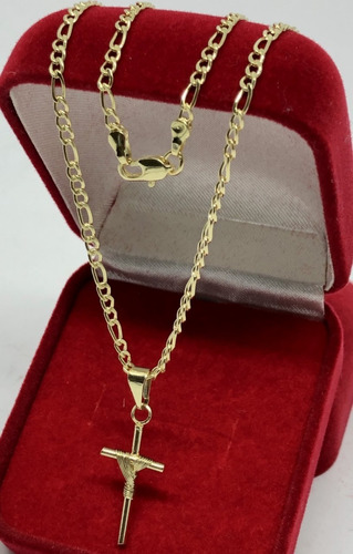 corrente masculino banhada a ouro 18k cordão 60cm 2mm + pingente  cruz
