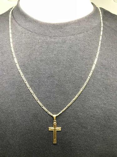 corrente masculino banhada a ouro 18k cordão 60cm ping cruz