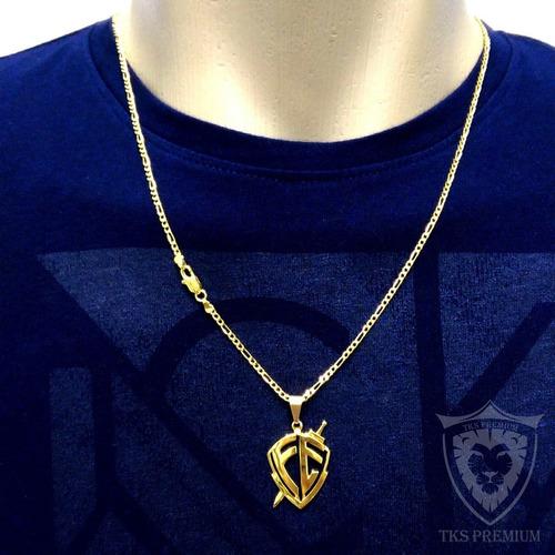 corrente masculino banhada a ouro 18k cordão 60cm + pingente
