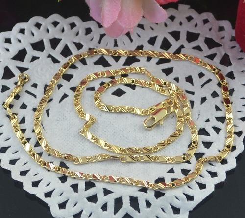 corrente masculino e feminino 3mm cordão76cm banhado ouro18k