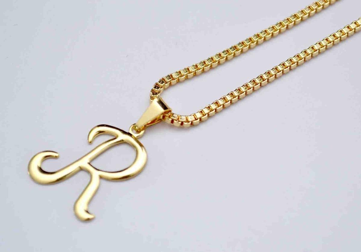 1ce71ab01929f corrente masculino feminino + pingente letra r folheado ouro. Carregando  zoom.
