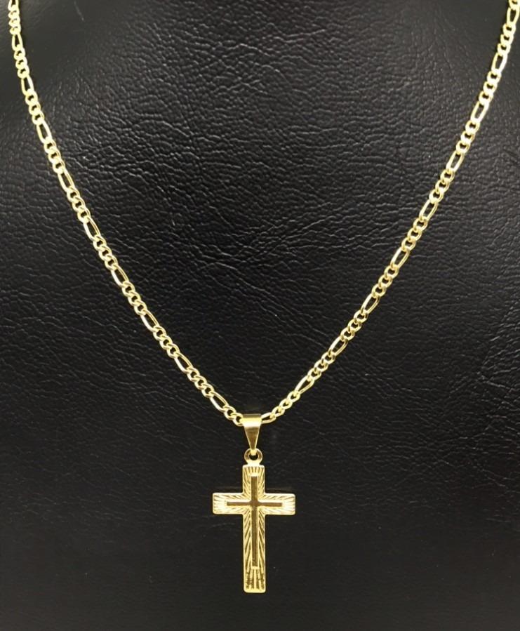 b4fbfa9d94a corrente masculino folheada a ouro 18k cordão 60cm ping cruz. Carregando  zoom.