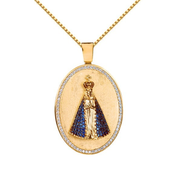 fa8e2cf616b71 Corrente Medalha N Sra Aparecida Banhado Ouro 18k Cod 4562 - R  320 ...