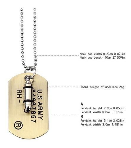 corrente militar exercito aço dog tag inox rambo