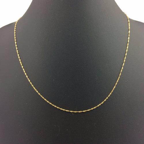 corrente ouro 18k-750 cordão singapura 1,0mm x 50cm original