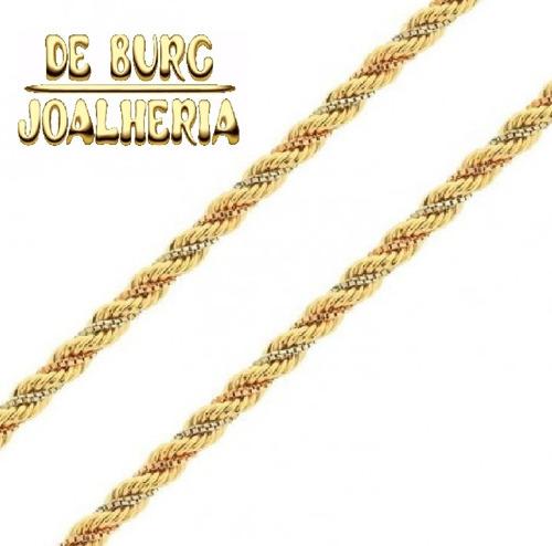 corrente ouro 18k malha corda 3 cores 41cm  6,5g 2,5mm parc.