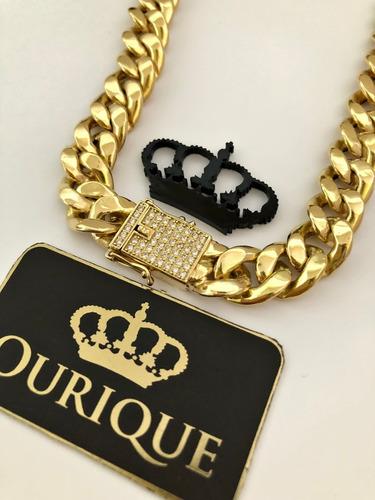 corrente ouro 18k masculina grumet diamantes pronta entrega