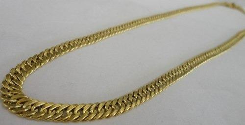 corrente ouro 18k masculina oca grumet/duplo 120grs 70cm