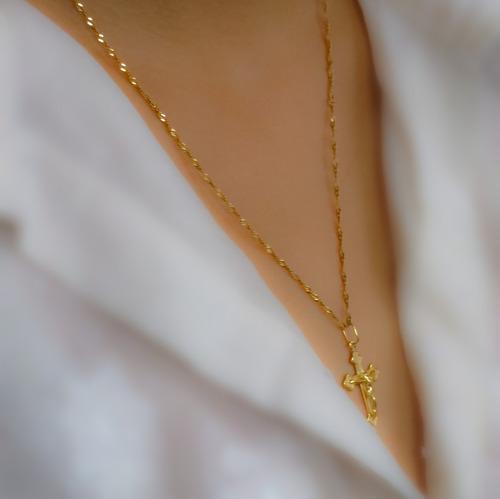 corrente piastrine ouro 18k + pingente crucifixo masc/fe m01