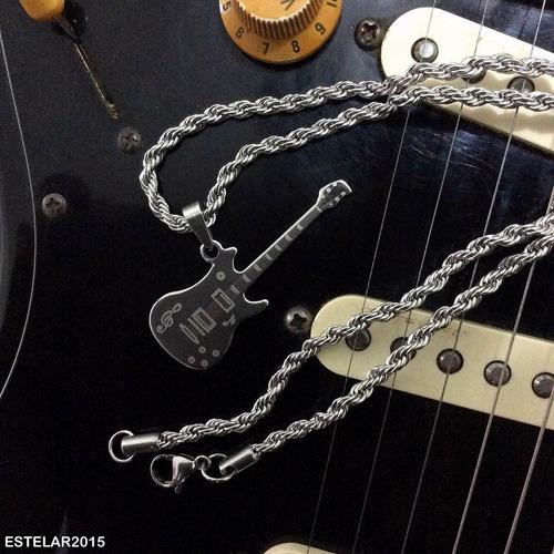 corrente pingente guitarra stratocaster música aço m4