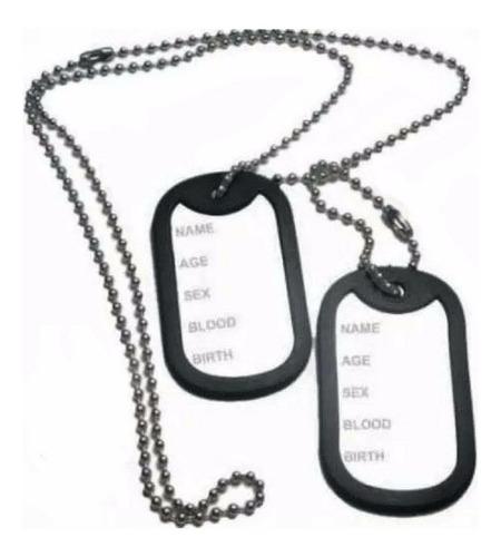 corrente placa identificação exército dog tag aço inox 316l