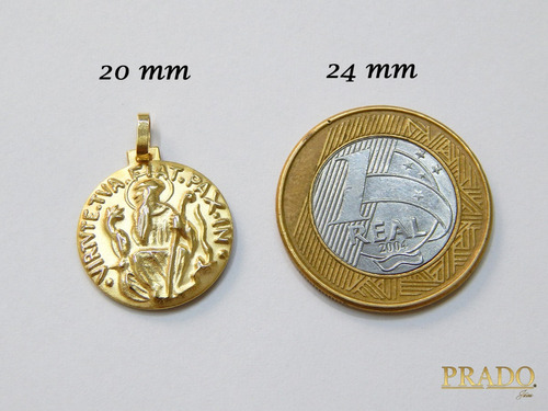 corrente portuguesa com pingente são bento em ouro 18k