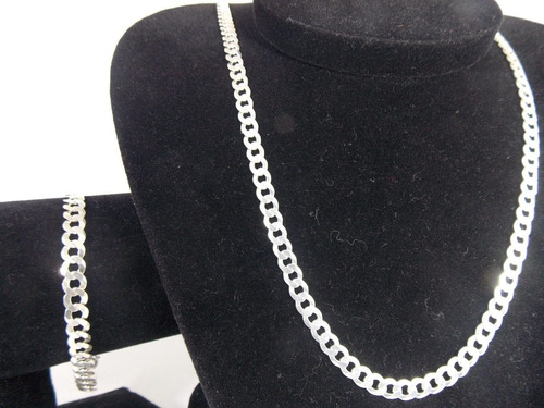 corrente prata 925maciça grumet 60cm 21gramas 6mm + pulseira