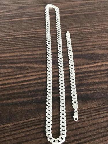 corrente prata 9mm 70cm maciço pulseira 9mm maciça 925