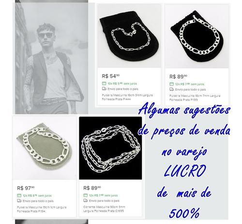 corrente prata e pulseiras masculinas folheadas kit 10 pçs