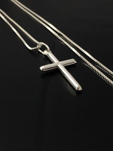 corrente prata maciça 925 c/ pingente crucifixo 70cm