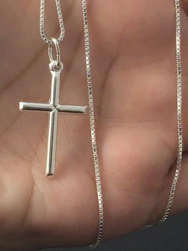 corrente prata maciça 925 c/ pingente crucifixo 70cm f. grat