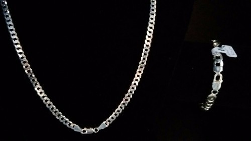 corrente prata maciça 925 elos grumet 70 cm + pulseira
