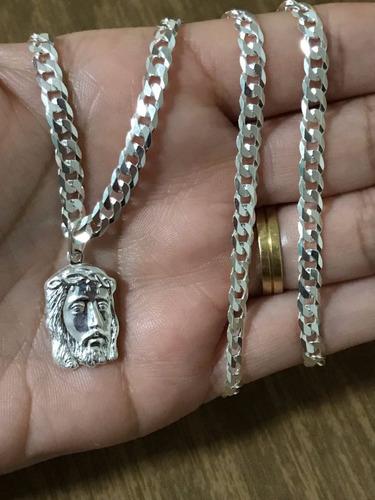 corrente  prata maciça 925 gurmet flat 70cm  face cristo