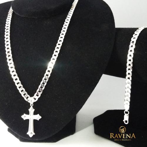 corrente prata masculina cordão pulseira e pingente prata