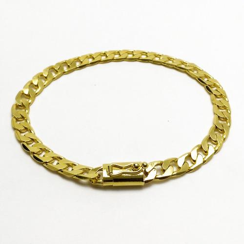 corrente + pulseira 7mm 44gr com pingente  banhado a ouro18k